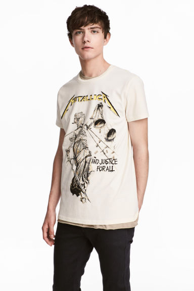 Cotton jersey T-shirt - White/Metallica - Men | H&M CA 1