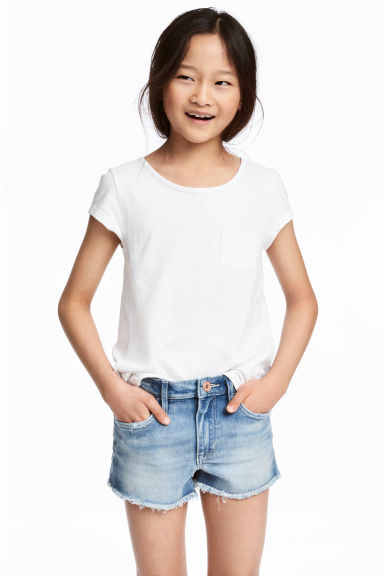 Slub jersey top - White - Kids | H&M