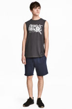 Knee-length sweatshirt shorts - Dark blue -  | H&M 1