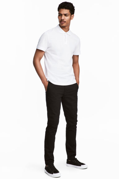 Cotton chinos Skinny fit - Black - Men | H&M GB