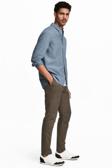 Linen-blend trousers - Khaki - Men | H&M 1