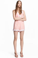 Playsuit with lace - Light pink - Ladies | H&M 1