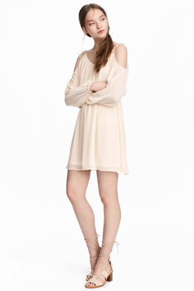Chiffon dress - Natural white - Ladies | H&M CN 1