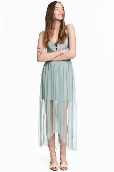 Lace dress with a mesh skirt - Dusky green - Ladies | H&M 1