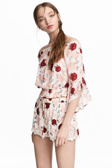 波希米亞風女衫 - Natural white/Floral - Ladies | H&M