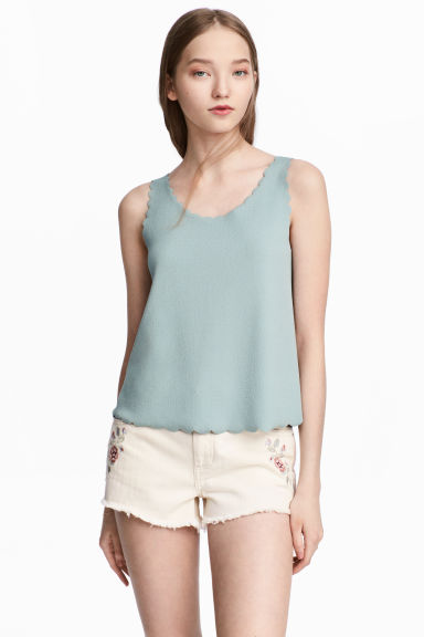 Vest top with scalloped edges - Dusky green - Ladies | H&M CN