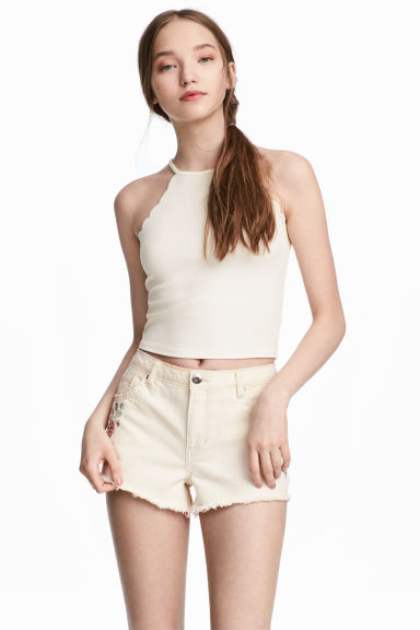 小波浪飾邊上衣 - Natural white - Ladies | H&M