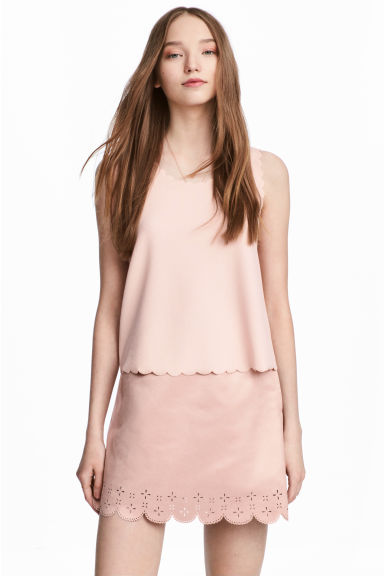 Imitation suede skirt - Light pink - Ladies | H&M 1