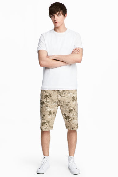 Knee-length cotton shorts - Light beige/Palms - Men | H&M 1