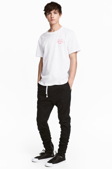 Cotton twill joggers - Black -  | H&M 1