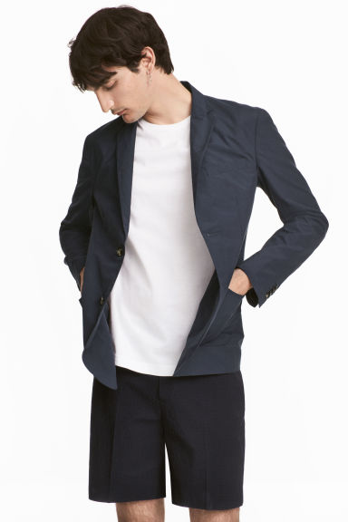 Cotton-blend jacket Slim fit - Dark blue - Men | H&M