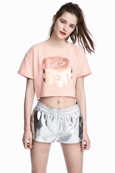 Printed cropped sweatshirt - Powder pink - Ladies | H&M 1