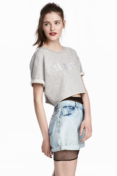 Printed cropped sweatshirt - Grey marl - Ladies | H&M 1