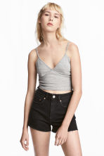 Short jersey top - Grey marl - Ladies | H&M CN 1