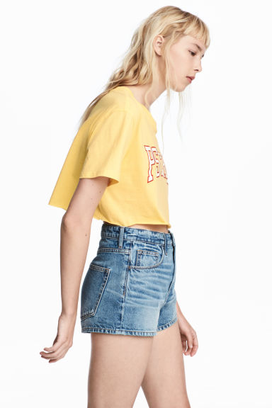 Cropped T-shirt - Yellow - Ladies | H&M CA