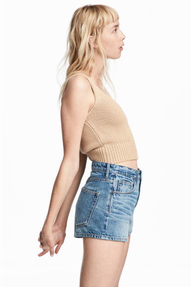 Knitted cropped top - Beige - Ladies | H&M 1