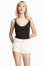 Knitted cropped top - Black - Ladies | H&M 1