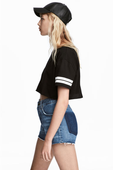 Cropped T-shirt - Black -  | H&M
