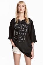 Mesh T-shirt - Black - Ladies | H&M 1