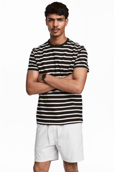 棉質網眼布T恤 - Black/White/Striped - Men | H&M 1