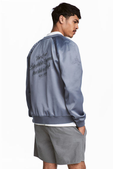 Embroidered bomber jacket - Silver grey - Men | H&M 1