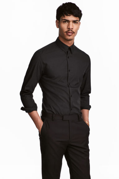 Easy-iron shirt Slim fit - Black - Men | H&M CA 1