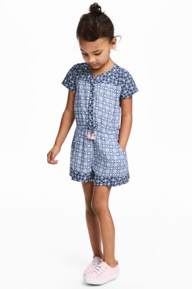Patterned playsuit - Light blue/Patterned - Kids | H&M CA