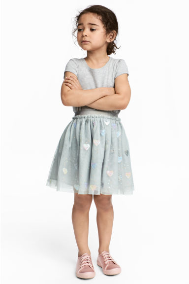 Tulle skirt with sequins - Light grey/Heart - Kids | H&M 1