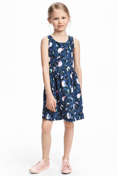 Sleeveless jersey dress - Dark blue/Birds - Kids | H&M CN 1