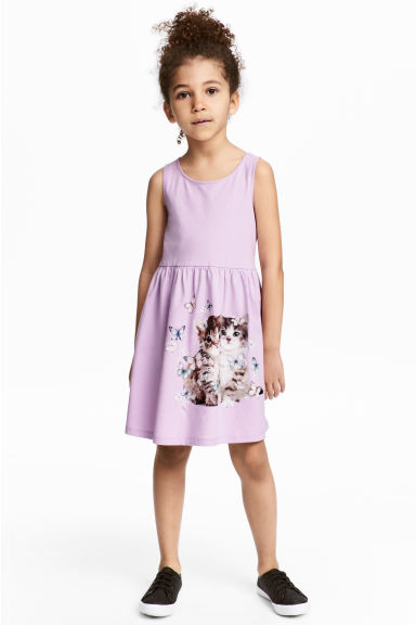 Sleeveless jersey dress - Purple/Cats - Kids | H&M 1