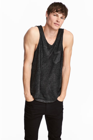 Vest top - Black marl - Men | H&M CN 1
