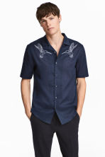 Denim shirt Regular fit - Dark blue/Birds - Men | H&M CA 1