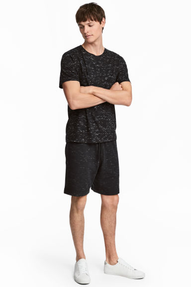 Sweatshirt shorts - Black marl - Men | H&M GB 1