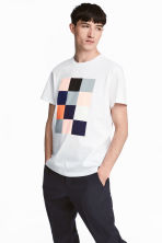 T-shirt with a print motif - White - Men | H&M CN 1