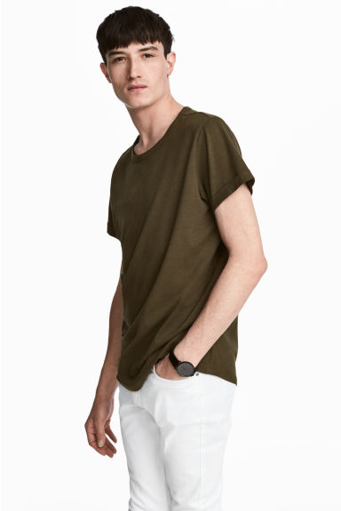 粗紡平紋T恤 - Dark khaki green - Men | H&M