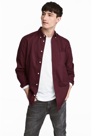 Oxford shirt Regular fit - Burgundy - Men | H&M