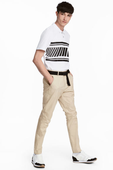 Cotton chinos Slim fit - Beige - Men | H&M CN