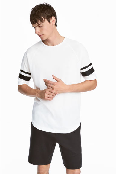 Short-sleeved sports top - White - Men | H&M