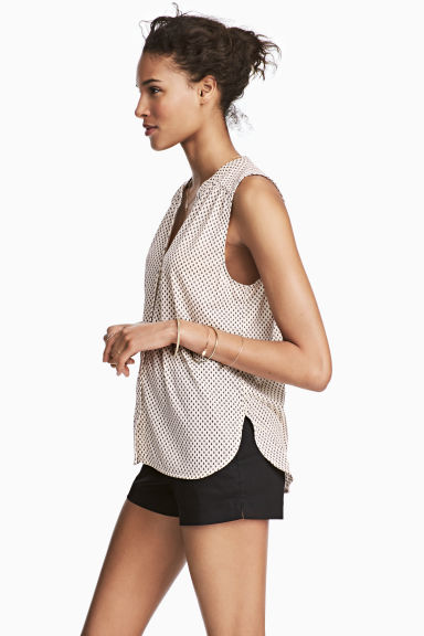 Sleeveless top - Light beige/Pattern - Ladies | H&M 1