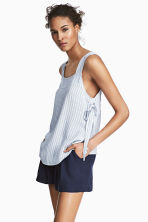 Strap top with ties - Light blue/Striped - Ladies | H&M CN 1