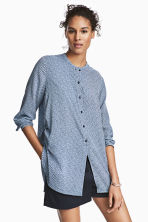 Drawstring blouse - Dark blue/Striped - Ladies | H&M CN 1