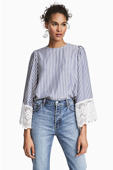 Wide-sleeved blouse - Dark blue/Striped -  | H&M CN 1