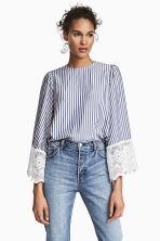 Wide-sleeved blouse - Dark blue/Striped -  | H&M 1