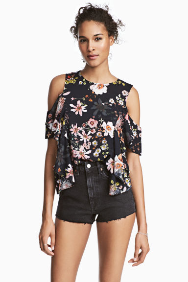 Cold shoulder flounced blouse - Black/Floral -  | H&M IE 1