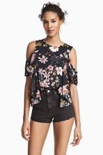 Cold shoulder flounced blouse - Black/Floral -  | H&M 1