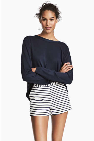 彈性超短褲 - White/Dark blue/Striped - Ladies | H&M