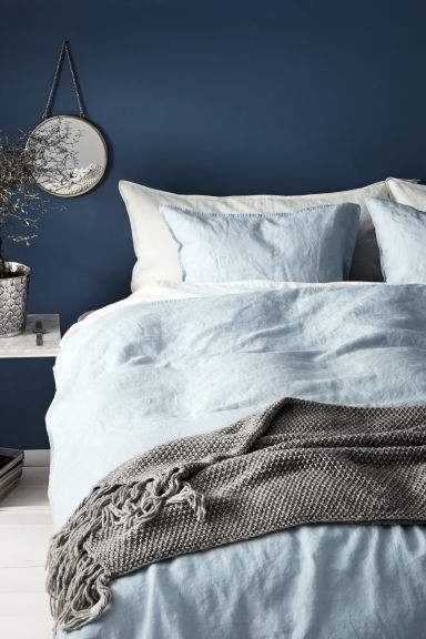 Washed linen duvet cover set - Light blue - Home All | H&M CN 1
