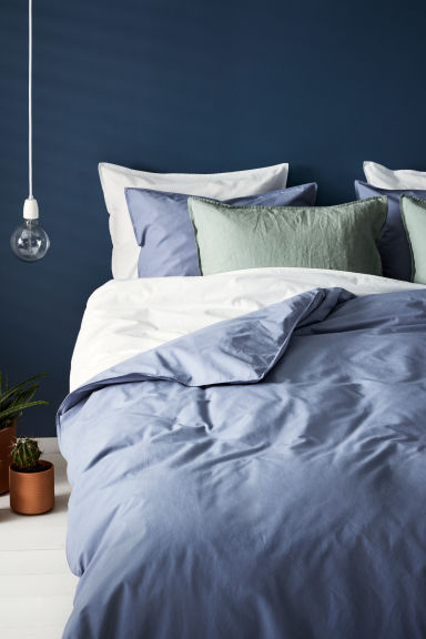 Washed cotton duvet cover set - Pigeon blue - Home All | H&M CN 1