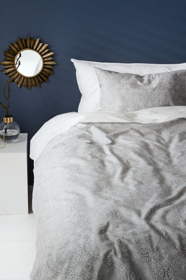 Patterned duvet cover set - Light grey - Home All | H&M CA 1