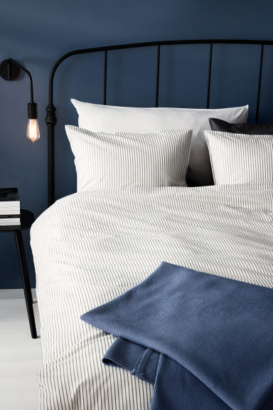 Cotton duvet cover set - White/Grey striped - Home All | H&M CN 1